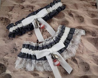 Fishing gray grey Linen Look white Twill white lace Fish Bobber Charm Wedding Bridal Garter Toss Set