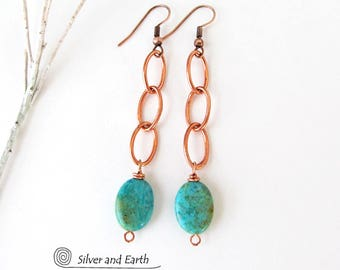 Turquoise Dangle Earrings, Copper Earrings, Lightweight Earrings, Turquoise Drop, Modern Boho Chic Jewelry, Copper & Turquoise Jewelry