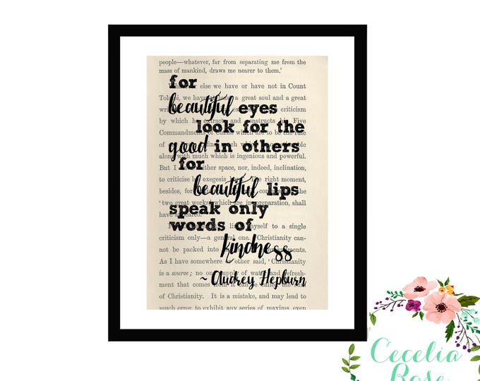 For Beautiful Eyes Look For The Good In Others Audrey Hepburn Quote  Box Frame Book Art Print Farmhouse Style