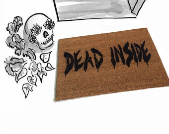 dead inside zombie walking dead doormat spooky awesome door mat outdoor halloween