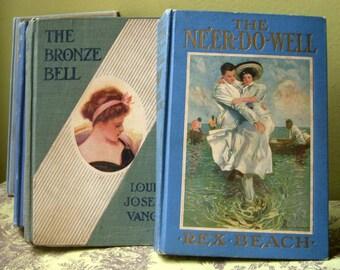 Set of 5 Antique Blue Book Bundle, Blue Book Set, Wedding Decor Prop, Early 1900s, Five Collectible Excellent Condition Book Stack Lot