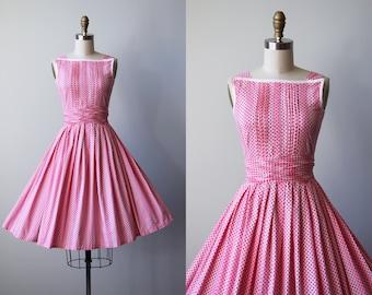 50s Dress - Vintage 1950s Dress - Pink Cotton Gradient Stripe Polka Dot Full Skirt Sundress XS - Sweetbaby Dress