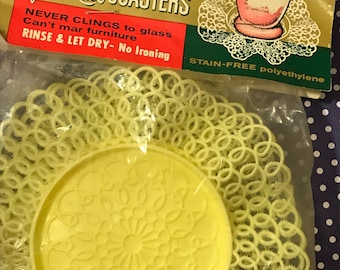 Vintage Lustro Ware ruffled lace coasters