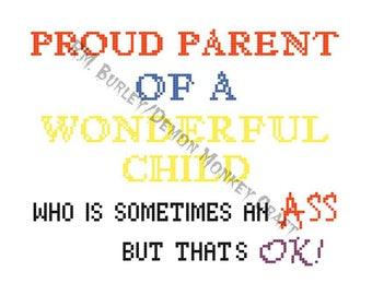 Proud Parent Cross Stitch DIGITAL PATTERN