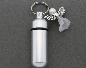 Pearl Angel - Ashes Urn - Cremation Necklace - Ashes Holder - Vial Key Chain