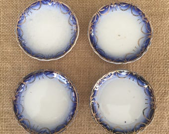 Set of 4 Butter Pats Flow Blue White Transferware with Gold Trim  Transfer ware China Fine China Butter Pat Trinket Dish #5