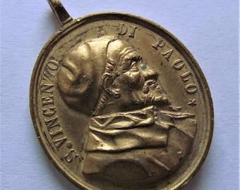 Antique Saint Vincent De Paul Virgin Mary Religious Medal  SS511