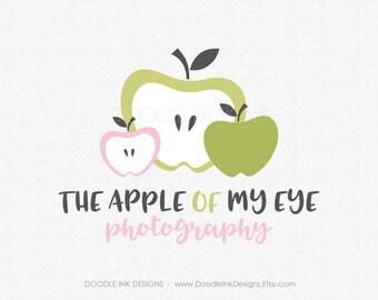 Green Apple Logo, Design Logo, Etsy Shop Design Logo, Etsy Shop Cover, Business Branding Logo, The Apple of my Eye, Photography Logo