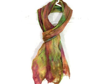 Cobweb Felted Scarf, Handmade Wool Winter Scarf, Green Brown Gold, Womens Mens Unisex Scarf, Winter Fashion Accessory, OOAK, Gift for Her