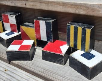 Nautical Code Custom Flag Blocks CHOOSE YOUR LETTERS Nautical Nursery Beach Decor