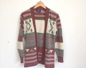 SPRING SALE 70s Cardigan BOHO Sweater Space Dye Hippie Sweater Chunky Sweater Hippie gypsy Sweater Fairisle Triangle Knit, Marled, Brown Gre