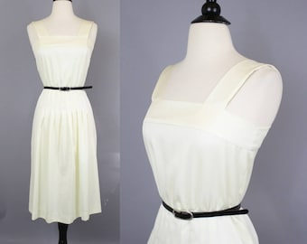 vintage 70s Ivory Satin Sun Dress / 1970s Off-White Square Neck Pleated Midi Dress / Extra Small XS