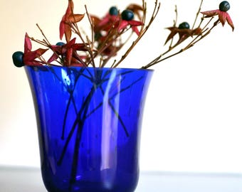 Cobalt Blue Glass Tumbler / Mini Glass Vase