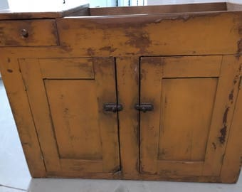 Primitive Mustard Paint Dry Sink Two Doors One Drawer 21d43w33h Shipping Is  Not Free