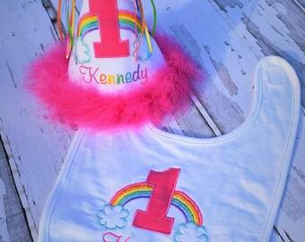 Rainbow Baby Birthday Cake Smash Set - Includes Boutique Birthday Hat and Matching Bib