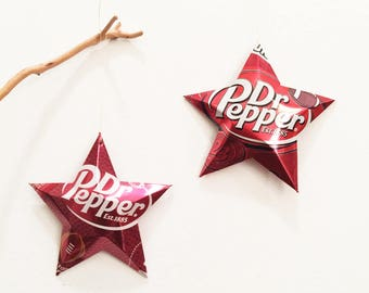 Dr. Pepper or Football Stars Christmas Ornaments Gift Toppers Soda Can Upcycled Repurposed