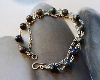 Dumortierite silver bracelet, two strand bracelet, handmade OOAK, 50th birthday gift, anniversary gift, 40th, 30th, for sister, for her
