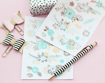 2pk flower stickers turquoise or pink