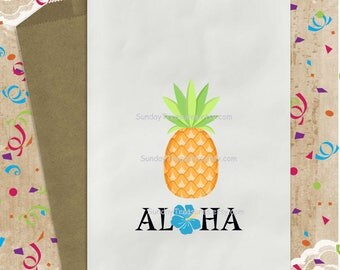 3 PAK Pineapple LUAU 5x7 Favor Bags / Wedding Birthday / Sweet 16 Party / Candy Popcorn Cookie / Hibiscus Flowers / Personalized 3 Day Ship
