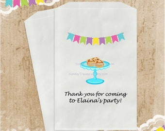 3 PAK PANCAKES Birthday Party Favor Bags / 5x7 / Candy Popcorn Cookie Gift Bags / Turquoise Purple Pink / Girl Personalized / 3 Day Ship