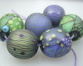 Moogin Beads- Detailed abstract round lampwork / glass bead set   - SRA