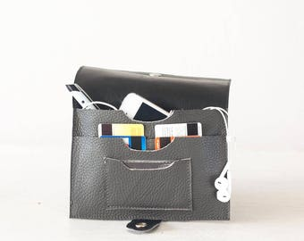 Grey leather bifold wallet, phone wallet bifold womens large leather phone wallet minimalist - Iole Wallet