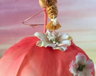 ON SALE FLOWER Fairy - Apple Blossom Fairy - Poseable Doll - Faerie - Present Topper - Bridal Shower - Birthday - Tree Ornament - Pink Fairy