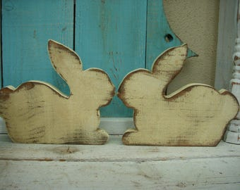 Handmade Wooden Rabbit - Hand Painted - Salvaged Wood - Wood - Farmhouse Chic Decor - Country Decor - Home Decor - Rustic Wood