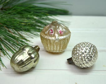 Antique 1910 glass German Christmas ornaments, basket, acorn, berry, 3 blown glass ornaments, small size