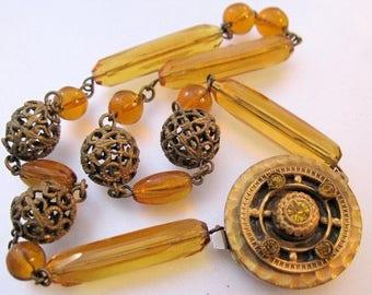 SHIPS 6/26 w/FREE Jewelry 1900s Edwardian Bohemian Czech Amber Glass Choker Necklace Antique Jewelry Jewellery