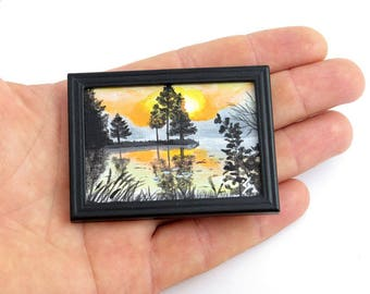 Dollhouse Miniature Original Painting, Art Collection, Tiny Painting, Nature painting, Sunset