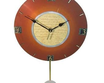 Rare 1960s IBM Computer Hard Drive Disk Platter Now a Pendulum Clock. Vintage Disk Platter.