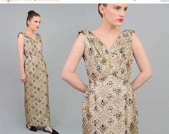 Vintage 60s Brocade Dress Metallic Gold Gown - Cowl Back - Column Dress - Floral Maxi Dress - 1960s Formal Evening Dress - Small S