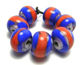 Blue/Orange Lampwork Beads Set - Handmade Lampwork Beads