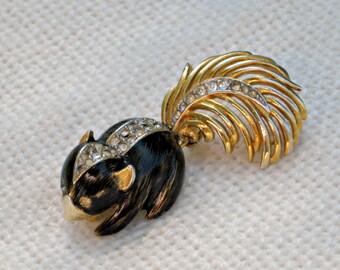 Boucher Brooch 60s 8868P Skunk Pin Enamel Rhinestone Jewelry