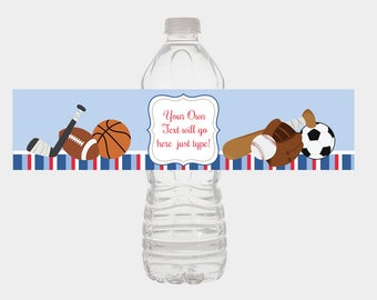 Sports All Stars Blue and Red Striped Water Bottle Labels Baby Shower Favors / Print Your Own DIY file INSTANT DOWNLOAD / bs-011