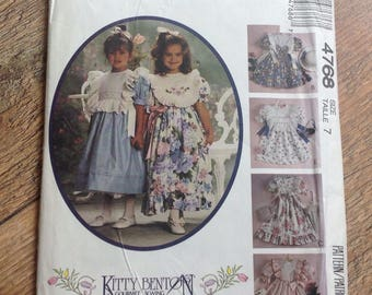 Vintage Girls Dress Sewing Pattern , Vintage childs dress and pinafore sewing pattern