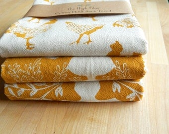 Tea Towel, Hand Printed, Mustard Farm Prints, 3 Natural Cotton Towels, LIMITED