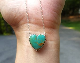 Turquoise Heart Pendant ~ Sterling Silver Turquoise Heart with Bohemian Gypsy Style Minimalist Pendant