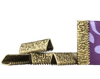 500pcs. 22mm or 7/8 inch Antique Bronze No Loop Ribbon Clamp End Crimps - Artisan Series