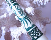 "RESERVED-The ""Princess Eve"" Seashell Hair Stick Featuring Holly inlaid with Malachite and Green Extreme Pearl Essence"