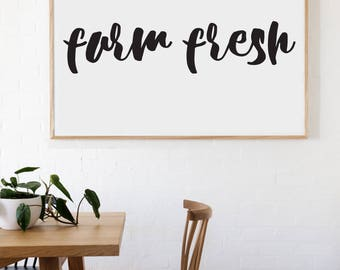 Farm Fresh Farmhouse Style Decal 8x36 saying Chunky Script Decor Vinyl Wall Decal Graphic