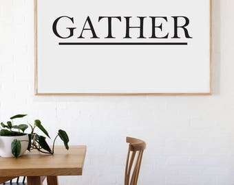 Gather Farmhouse Style Decal 7x36 saying Traditional Font Decor Vinyl Wall Decal Graphic