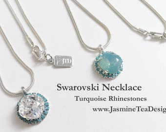 Turquoise Rhinestone Necklace, 18 Inch Necklace, Silver Plated