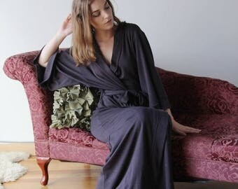 hooded wool robe in full length double knit fine stretch jersey with kimono sleeve - HEARTH - made to order