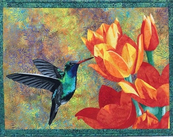 Hummingbird Art Quilt Pattern DOWNLOAD by Lenore Crawford