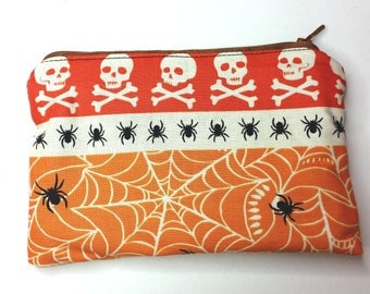 Skulls and Spiders Halloween and Spiderwebs Zipper Pouch - Fully Lined