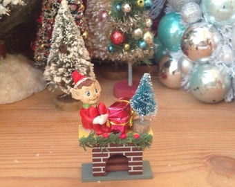 SALE Handmade hand decorated miniature Christmas fireplace with elf.