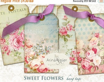 SALE - 30%OFF - Hang Tags Sweet Flowers - Digital Collage Cards - Download Collage Sheet - Set of 6 Hang Tags