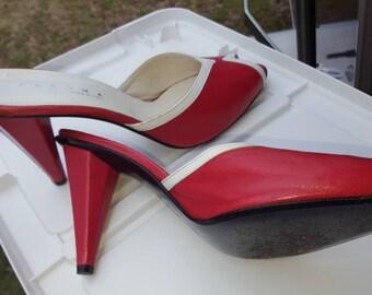 Cherry pinup Lolita marilyn peep toe heels womens 11